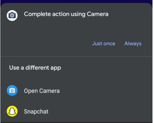 force to use built-in camera app