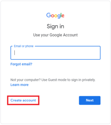 Create a Google Account: Sign-in