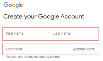 Create a Google Account: Personal Information