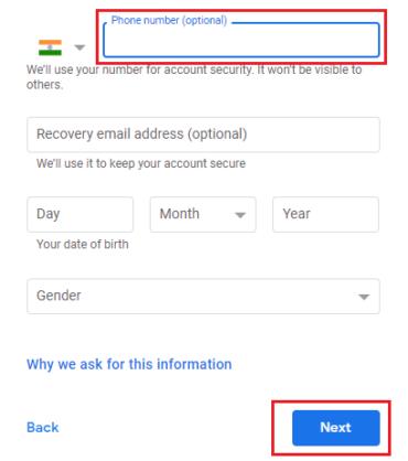 Create a Google Account: Verify