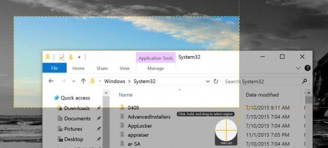 Take a screenshot via Snipping Tool