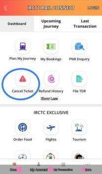 creat a cancel ticket in irctc